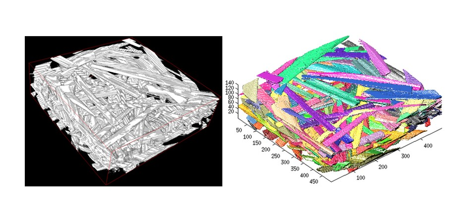 Fibres and their contacts ins a 3D image of a network of entangled fibres